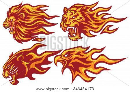 Wild Animals Flaming Flame Heads Set. Lion, Tiger, Jaguar, Panther Eagle - Vector Mascot Logo Design