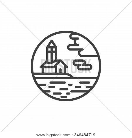 Chapel And Sea Line Icon. Linear Style Sign For Mobile Concept And Web Design. Chapel Hill By The Se