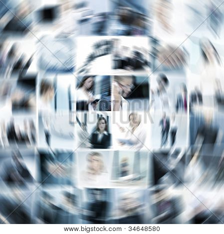 Geschäft Collage hergestellt aus neun Geschäft Bilder