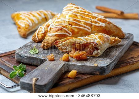 Puff Pastry Turns With Apple Filling.