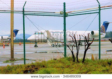 January 17, 2020 In Eureka, Ca:  United Airlines Regional Aircraft Ready To Depart The Eureka/arcata
