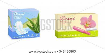 Feminine Hygiene Tampon Sanitary Pads Packaging Boxes, Vector Illustration