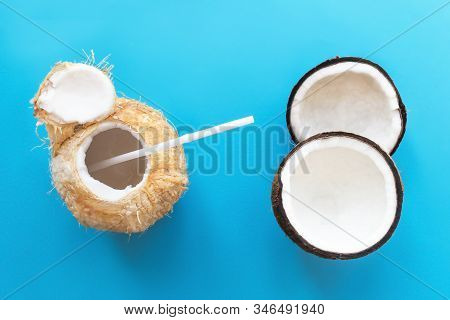 Coconut Benefits, Set, Composition Of Fresh Coconut Cut In Half, Two Halves, Cocktail Coconut Juice,