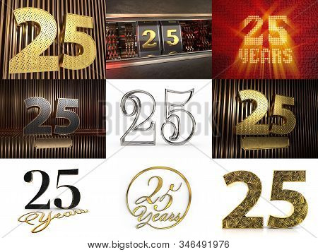 Set Of Number 25 (number Twenty-five) Celebration Design. Anniversary Number Template Elements For Y