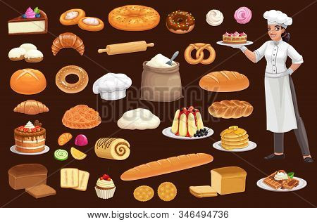 Baker With Bread, Pastry Food. Cartoon Vector Baguette, Croissant, Wheat And Rye Loaves, Cake, Donut