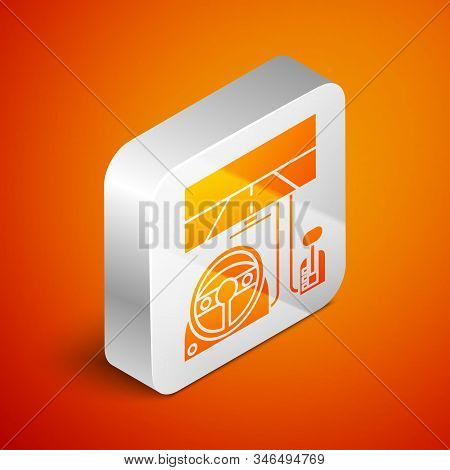 Isometric Racing Simulator Cockpit Icon Isolated On Orange Background. Gaming Accessory. Gadget For