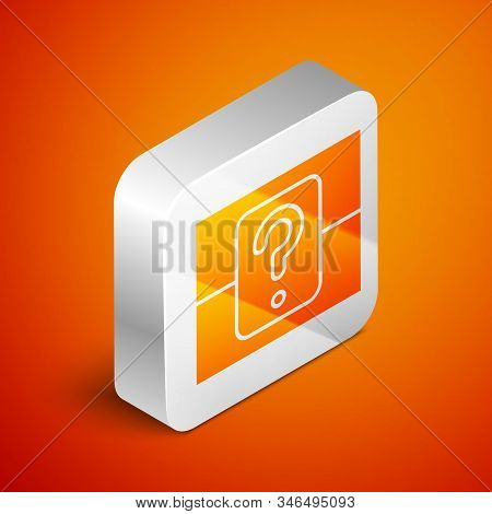 Isometric Mystery Box Or Random Loot Box For Games Icon Isolated On Orange Background. Question Box.