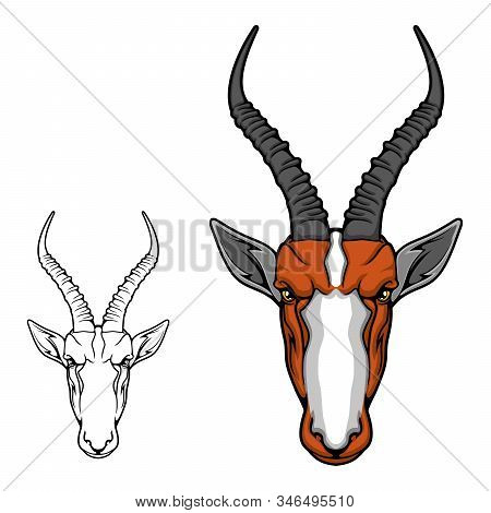 Impala Antelope Or Gazelle Animal Head, African Safari, Hunting Sport And Hunter Club Mascot Design.