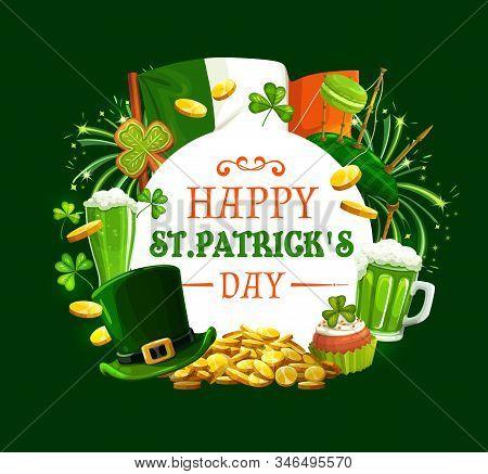 Patricks Day Round Frame With Irish Holiday Symbols. Vector Ireland Flag, Gold Coins, Green Firework