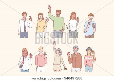 People Greet Or Say Hello With Hand. Group Of Multicultural Students Is Saying Hello. Young Men And