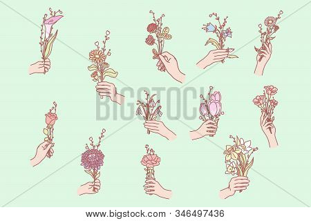 Bunch Of Flowers In Hand. Hand Holds Flower. Womans Hands Hold Flower. Collection Of Hands Holding B