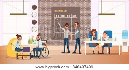 Disabled People Full Life And Self-realization Trendy Flat Vector Concept. Happy And Positive Man In