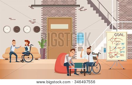 Disabled People Self-realization And Job Opportunities Trendy Flat Vector Concept With Man In Wheelc