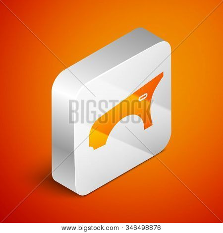 Isometric Car Fender Icon Isolated On Orange Background. Silver Square Button. Vector Illustration