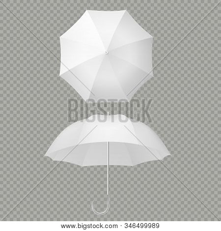 White Umbrella And Parasols Realistic Isolated On White. Design Template Of Opened Parasols For Mock
