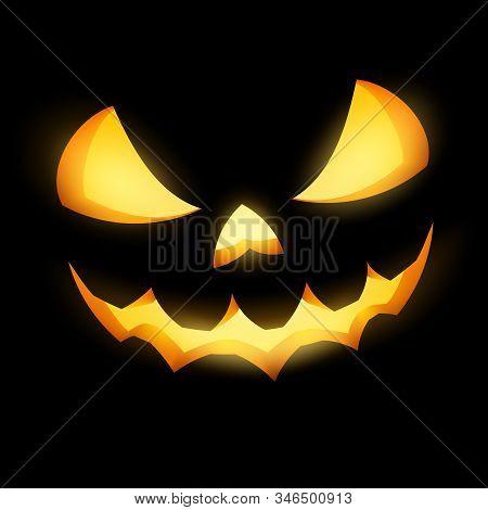 Grinning Jack O Lantern On Black Background. Eps 10