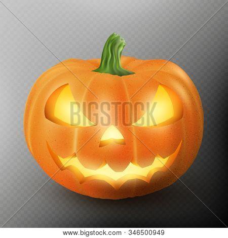 Lighten Jack O Lantern Glowing Halloween Realistic Smile Face Pumpkin With Candle Light Inside. Scar