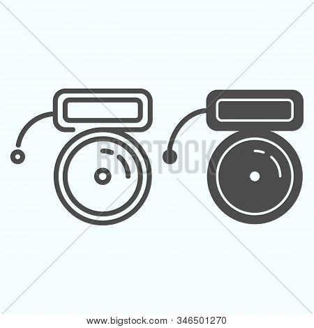 Buzzer Line And Solid Icon. Mechanical Ring Vector Illustration Isolated On White. School Bell Outli