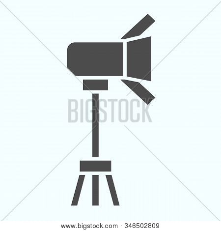 Spotlight Solid Icon. Lamp To Power Light For Photography Vector Illustration Isolated On White. Flo
