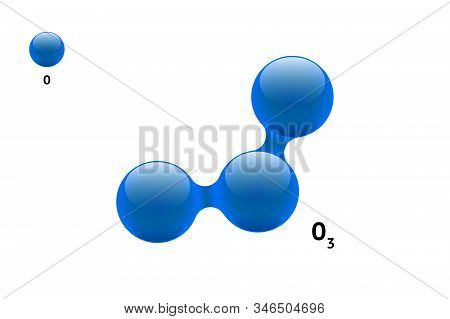 Chemistry Model Molecule Ozone O3 Gas Scientific Element Formula. Integrated Particles Natural Inorg
