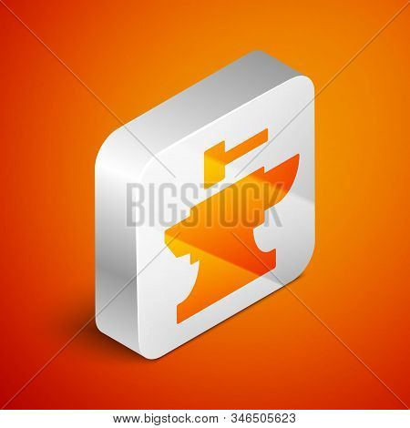 Isometric Anvil For Blacksmithing And Hammer Icon Isolated On Orange Background. Metal Forging. Forg