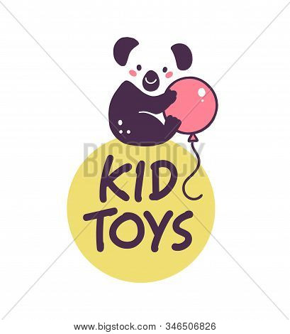 Logo Design For Kid Toys Store Market, Boutique With Cute Koala Bear Character Silhouette With Air B