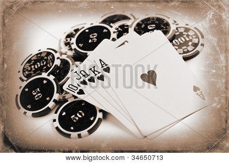 photo shot of vintage poker concept
