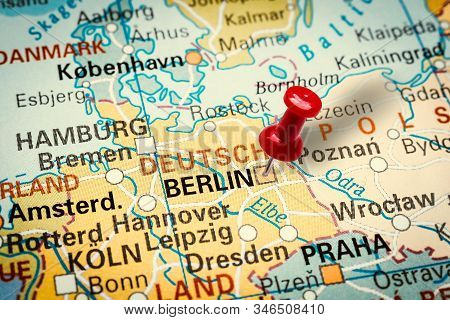 Prague, Czech Republic - January 12, 2019: Red Thumbtack In A Map. Pushpin Pointing At Berlin City I