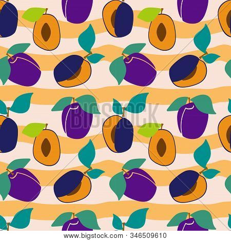 Seamless Pattern With Plums And Green Leaves On Striped Background Background. Sliced Plum. Flesh Pl