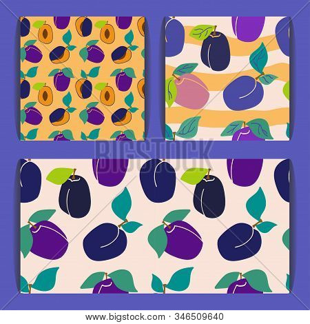 Set Of Seamless Patterns With Plums And Green Leaves On A Purple Background Background. Sliced Plum.