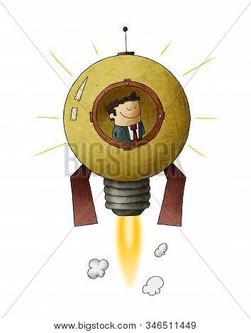 Businessman Travels Through Space Inside A Rocket Shaped Like A Light Bulb. Concept Of Entrepreneurs