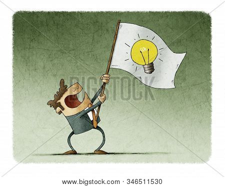 Man Waves A Flag With The Symbol Of A Light Bulb. Idea Concept