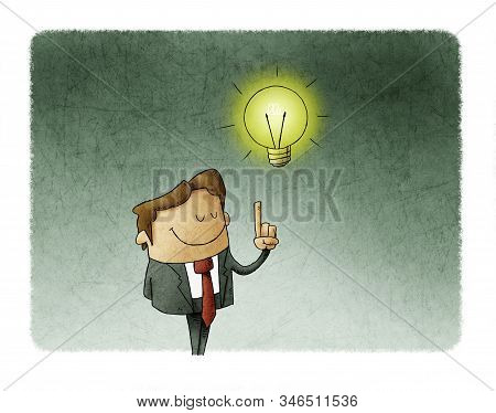 Illustration Of A Man Who Has A Lit Bulb Above His Head. Creativity Concept
