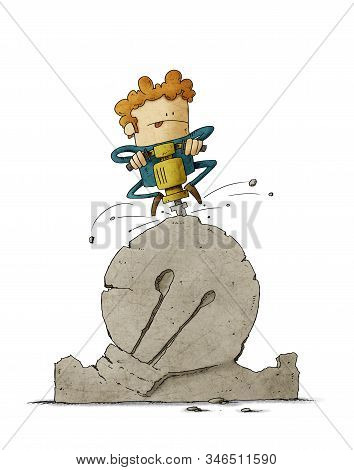 Man Sculpts A Large Stone With A Machine, Giving It The Shape Of A Light Bulb. Concept Of Creativity