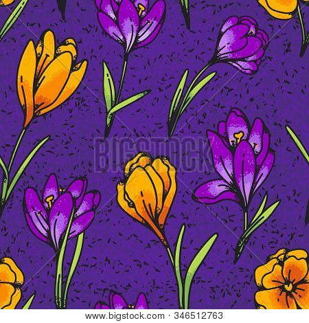 Crocus Yellow And Lilac Flower Seamless Pattern Spring Primroses Outline Texture Sketch On Purple Ba