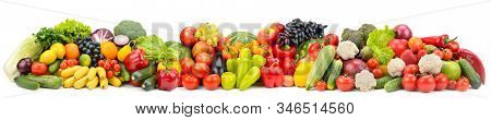 Wide photo multi-colored fresh fruits and vegetables isolated on white background