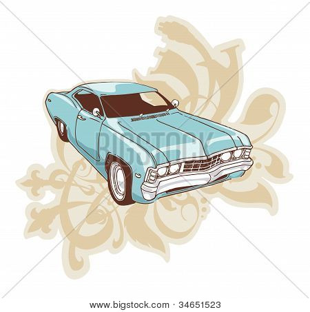 The low-rider. The muscle car over the ornament with floral motifs. poster