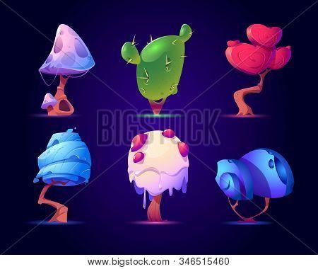 Fantasy Mushrooms Or Alien Trees Set. Magic Unusual Nature Elements For Computer Game, Fairy Tale Bo