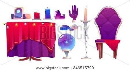 Fortune Teller Accessories, Magic Ball, Crystal And Mirror. Vector Cartoon Objects For Prediction Fu