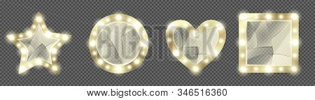 Broken Makeup Mirrors In Gold Frame With Light Bulbs. Vector Realistic Round, Square, Heart And Star