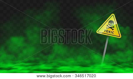 Warning Sign In Toxic Green Smoke Or Fog Clouds. Vector Realistic Yellow Triangle Danger Symbol With