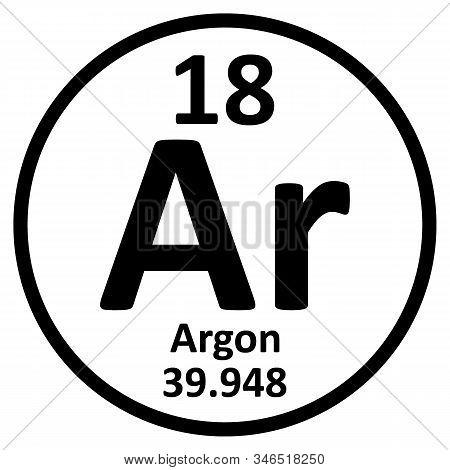 Periodic Table Element Argon Icon On White Background. Vector Illustration.