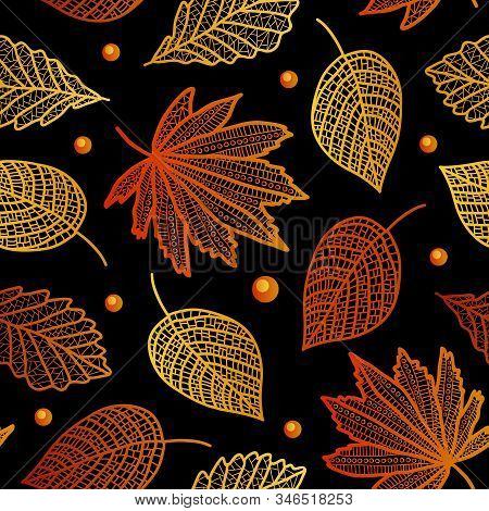 Autumn Beautiful Seamless Pattern With Maple Leaves, Poplar Birch-vector Illustration. On A Black Ba