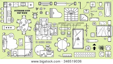 Floor Plan Icon Set In Top View For Interior Design.  Architecture Plan With Furniture View From Abo