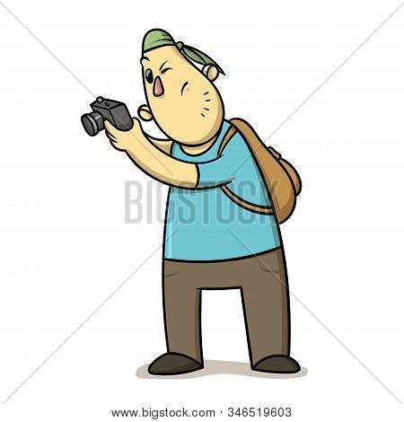 Funny Cartoon Tourist Taking Pictures. Backpacker With A Photocamera. Flat Vector Illustration Isola