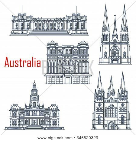 Australian Famous Building Landmarks, Architecture. Vector Parliament Melbourne, Saint Patricks And