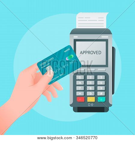 Vector Flat Style Illustration Of Wireless Mobile Payment By Credit Card. Hand Holding Card And Pos