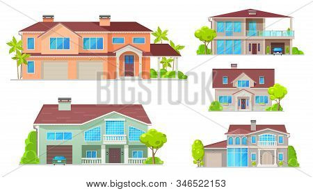 Cottage, Country House, Villa, Mansion And Bungalow Vector Buildings. Real Estate Objects. Facade Ex
