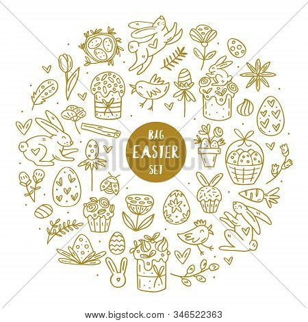 Easter Elements Doodle Hand Drawn Vector Big Set Of Elements, Clip Art, Illustration, Sticker. Easy