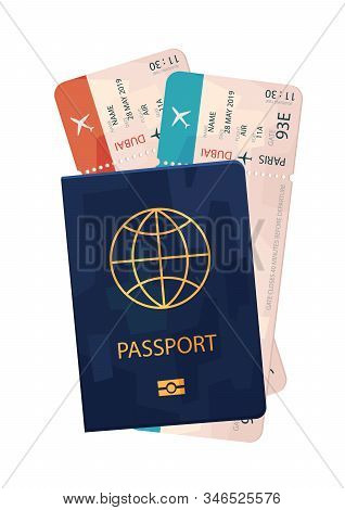 Passport With Tickets Travel Isolated Vector On White Background